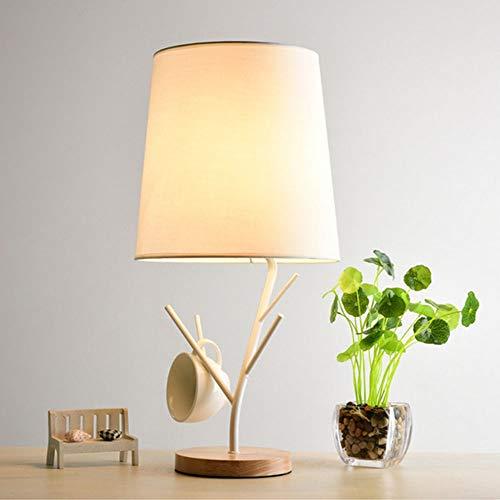 DKee Lámparas de mesa Lámparas LED Lámpara De Pie Personalidad Creativa En Madera Dormitorio De La Lámpara De Mesa De Noche Exquisita Casa De Moda 1 * E27 (26 * 52 Cm) (Color : White)