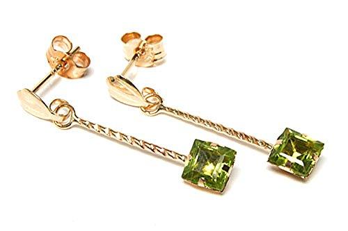 9ct Gold Square cut Peridot Drop Dangly Earrings