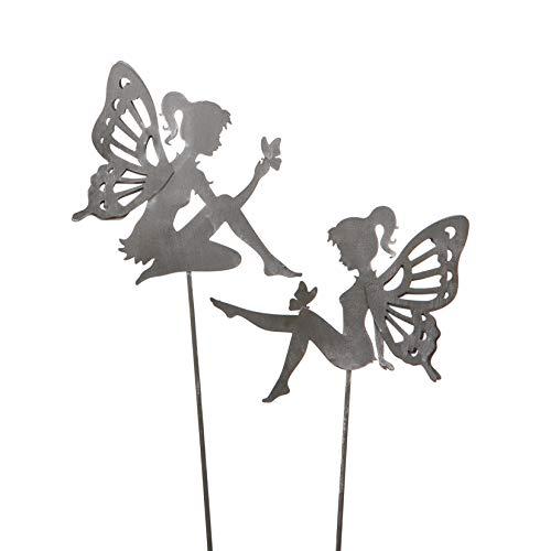 dekorativer ausgefallener Gartenstecker Elfe Fee Blumenkind Metall hellgrau Preis für 2 Stück