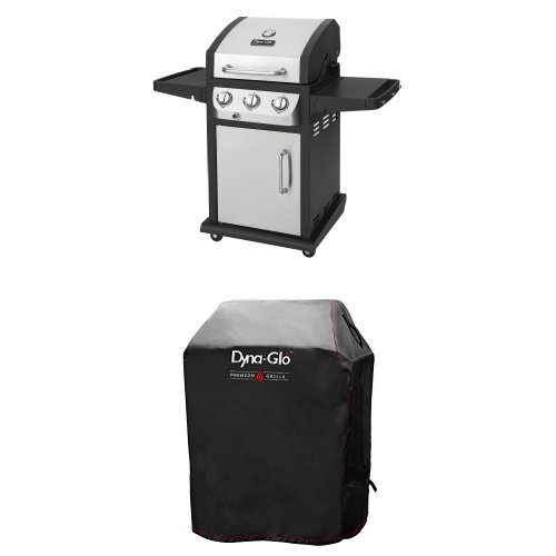 Dyna-Glo DGB390SNP-D Smart Space Living 36,000 BTU 3-Burner LP Gas Grill and Premium Grill Cover,Small