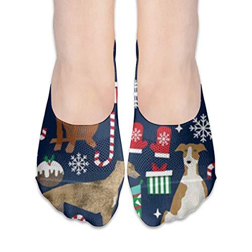 YudoHong Crew Sock Greyhound Christmas Dog Long Knee-high Outdoor Boot Socks, Hiking, Trekking, Multi Performance for Men,
