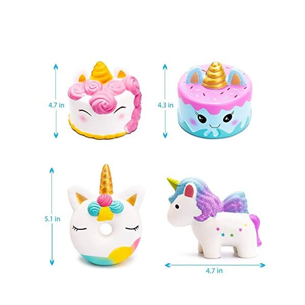 YXJC Fun Toys Squishies, 4pcs Simulation Food Unicorn Donut Squishy, Creamy Aroma Slow Rising Squeeze Toys for Boys and Girls Gifts 7