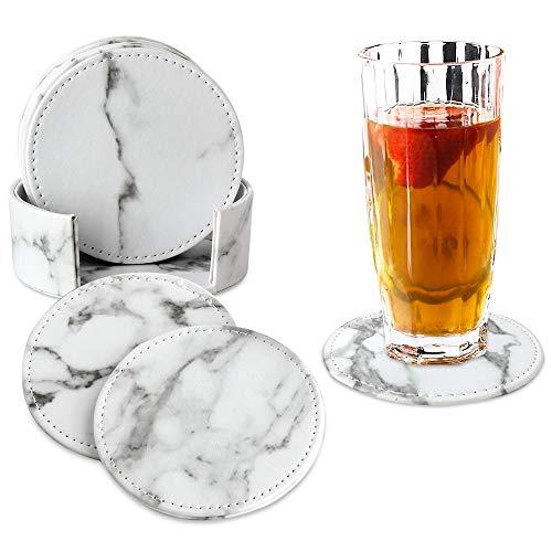 GLOBALDREAM Untersetzer Marmor, 6 Stück Untersetzer Tisch Leder Untersetzer Untersetzer Teller Untersetzer Tasse für Zuhause, Küche und Büro