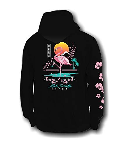 Riot Society Flamingo Blossom Mens Hoodie - Black, Large