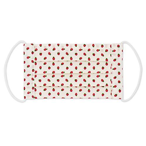 キッズ ガール マスク 子供 日本製 ガーゼ 女の子 mask 個包装 綿100 軽い 立体 小学生 低学年 花粉対策 給食 イチゴ リボン ドット 花 (いちごホワイト)