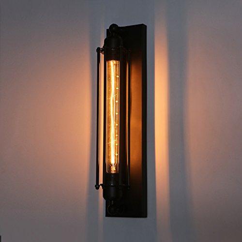 Konesky Vintage wandlamp, retro vloerlamp industrieel metaal kooilamp Edison T300 E26/E27 fitting wandlamp (lamp niet inbegrepen)