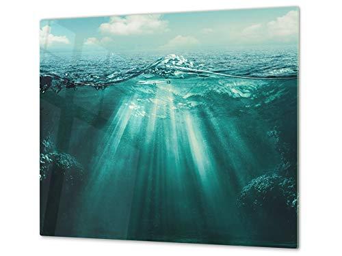 Cubre vitro de cristal templado – Protector de encimera de vidrio templado – Resistente a golpes y arañazos – UNA PIEZA (60 x 52 cm) o DOS PIEZAS (30 x 52 cm); D02 Serie Agua: Agua 20