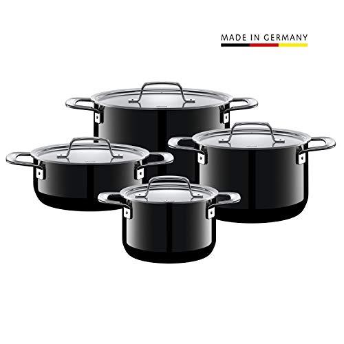 Silit Zeno Black - Batería de Cocina (4 Piezas, ollas con Tapa de Met