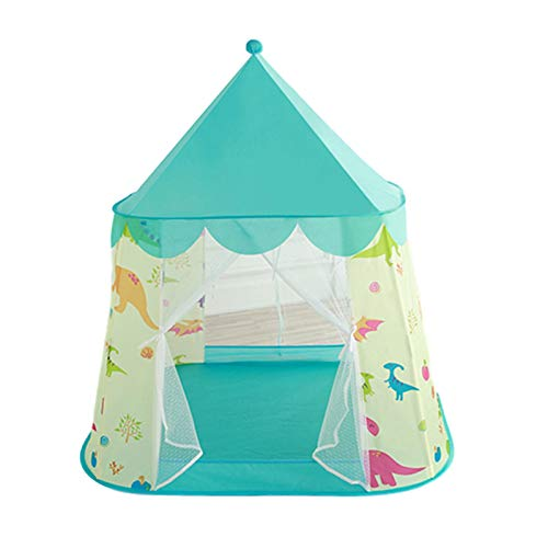 Tents Children's Toy House, Installation Parent-child Play Indian Teepee Yurt for Boy, Girl - Cartoon Castle (Color : Blue, Size : 105 * 135CM)