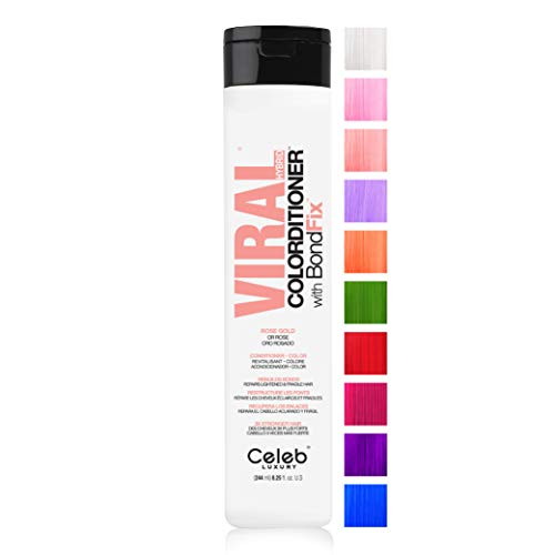 Celeb Luxury Viral Colorditioner, Professional Semi-Permanent Hair Color Depositing Conditioner, Rose Gold