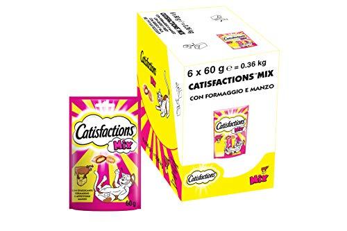 Catisfactions Mix Snack per Gatto con Stuzzicante Formaggio e Appetitoso Manzo, 6 Confezioni da 60 g