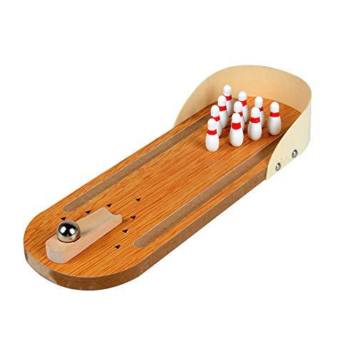 lujiaoshout Mini-Bowling-Spiel Indoor Holz Bowling-Spiel Klassische Tisch Bowling Toy Schreibtisch Brettspiele für Kinder und Erwachsene Set