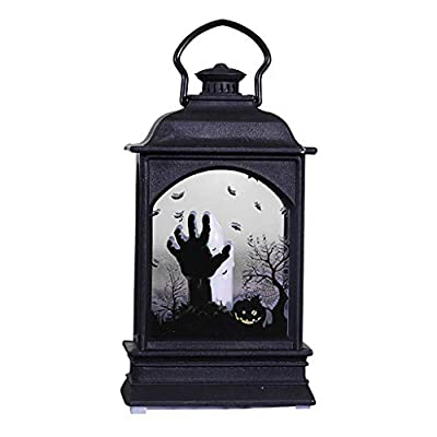 Fine Halloween Creative LED Fireplace Light, Bar KTV Desktop Decoration Props,Effect Battery Operated Portable Night Light for Indoor/Outdoor Decoration (D)