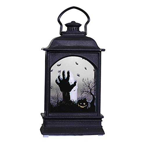 Fine Halloween Creative LED Fireplace Light, Bar KTV Desktop Decoration Props,Effect Battery Operated Portable Night Light for Indoor/Outdoor Decoration (D)