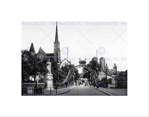 Wee Blue Coo Most kościelny Breslau Śląska Niemcy stary BW sztuka ścienna druk