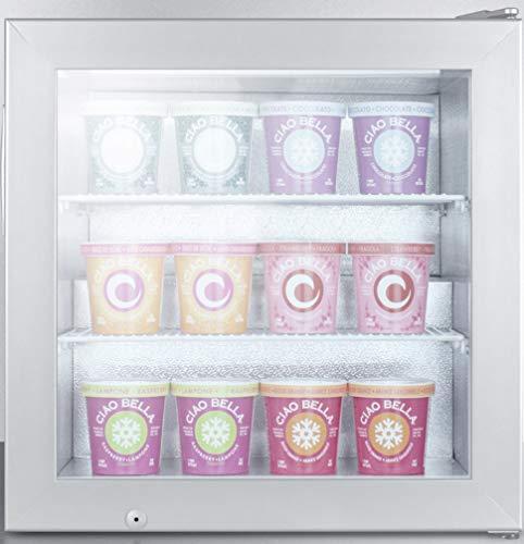 Summit SCFU386 Countertop Upright Freezer, Glass/Gray