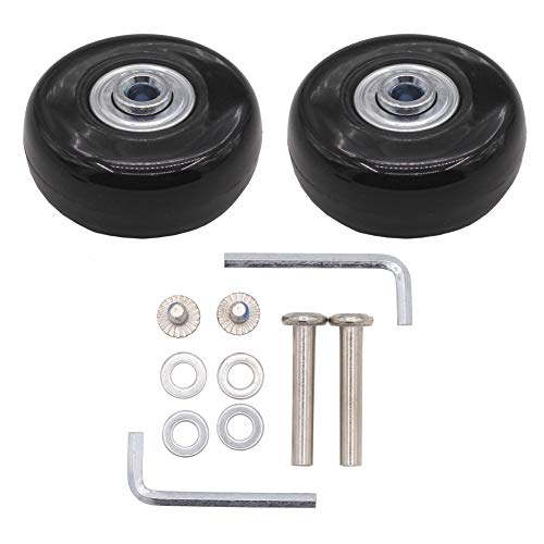 Leen4You Luggage Suitcase Replacement Wheels with Screws Axles Repair Tool for Luggage Suitcase Trolley,Skate Replacement Wheels(Pack of 2) (50mm x 18mm x 6mm)
