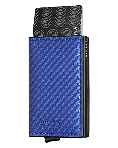 VULKIT Pocket Cartera Tarjetero Hombre Piel Fibra de Carbon con Aluminio Caso RFID Bloqueo Tarjetero Minimalista con 3 Ranuras para Tarjetas y Billetes, Azul