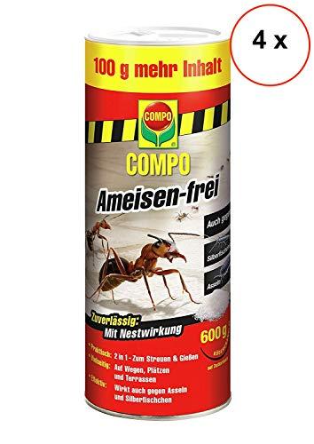 Compo Ameisen-frei, Staubfreies Ködergranulat mit Nestwirkung, (4 x 600 g)