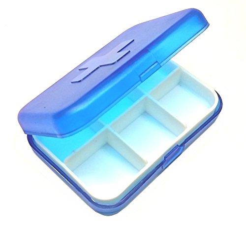 Portapillole Giornaliero Tascabile, Pillole Organizzatore Contenitore per Pillole, Porta Medicine Porta Pastiglie, Promemoria per pillole (6 Scomparti, Blu)
