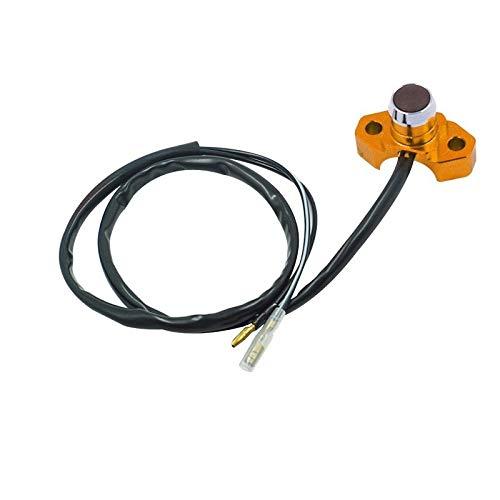 Langrms CNC aluminio 7/8 pulgadas 22 mm manillar de motocicleta compatible con Horn Electric Power Start Kill interruptor con botón de retorno automático (color naranja)