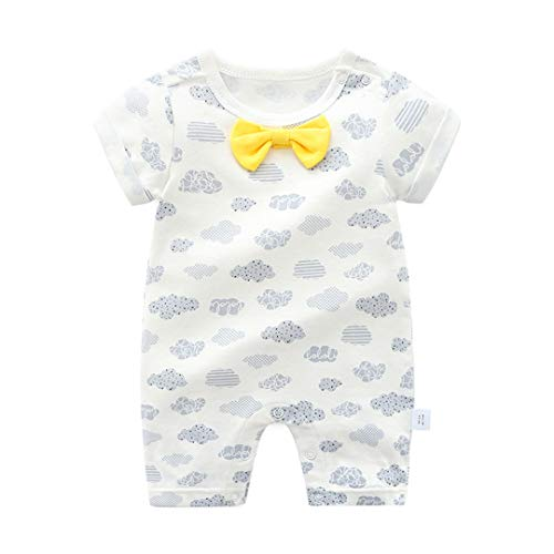 Mornyray Unisexe Toddle Infant Baby Summer Coton À Manches Courtes Outfit Onesies Romper 1-3T Size 66 (White Gray Clouds)