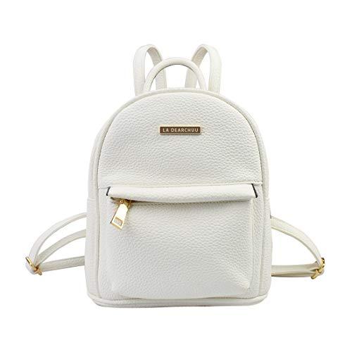 La Dearchuu Mini Rucksack Damen Leder Klein Rucksack, Mini Rucksack Daypack mit Kopfhörerloch Kleiner Tagesrucksack für Frauen, Mädchen Teen (Litschi Muster Weiß)