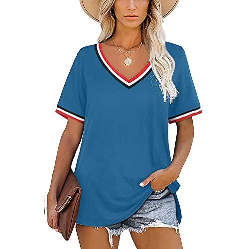 Tops Mujer Verano con Cuello En V Rayas Empalme Versión Suelta Mujer Camisa Generoso Casual Clásico Temperamento Personalidad De La Moda Únicas Mujer Shirt G-Blue M
