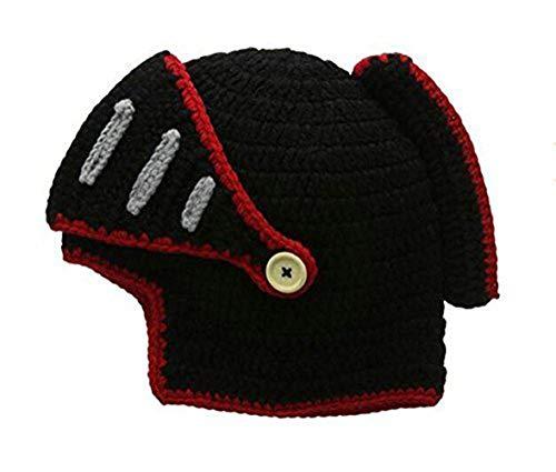 Da.Wa Römische Ritterhelm Mütze Winter Handgefertigte Gestrickte Mütze fur Unisex, Rote