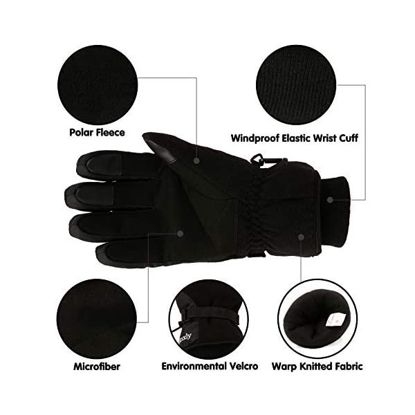 Koxly Winter Gloves Waterproof Windproof 3M Insulated Gloves 3 Fingers Dual-layer Touchscreen Gloves for Men and Women