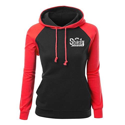Eminem Pullover Frauen-Sweatshirt Herbst Langarm Damen Patchwork Pullover Bequeme Hoodie Tops Unisex (Color : Red07, Size : M)