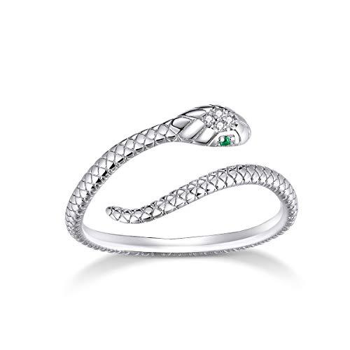 Anillo de serpiente para mujer de plata de ley ajustable anillo de circonita cúbica pulgar anillos para niñas y hombres