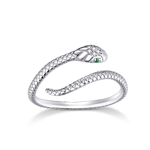 BAMOER 925 Sterling Silver Unique Design Open Band Ring White Gold Plated Elegant Rings Jewellery Gift for Girl Women Size 5-8