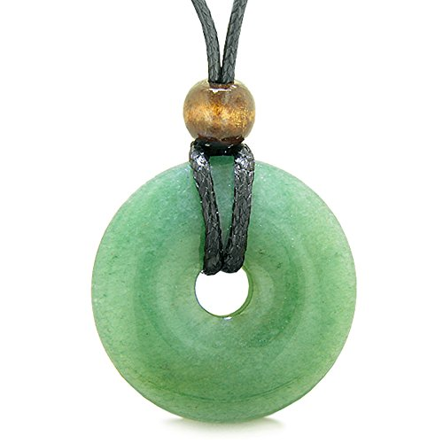 BestAmulets Amulet Magic Large Coin Shaped Donut Positive Powers Green Quartz Healing Lucky Charm Necklace