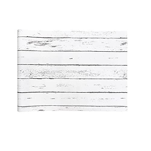 PJTL Papel Pintado de Grano de Madera Blanco Retro Dormitorio Sala de Estar gabinete Mesa TV Fondo Pared decoración del hogar