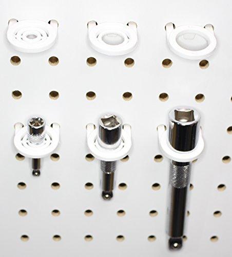 White Plastic Multi-Purpose Peg board Wall Tool Holders Organizers for Garage Shop (50)