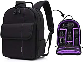 LIAOWUXIANG Outdoor Sports Camera Bag Portable Waterproof Scratch-Proof Polyester Surface Material Dual Shoulders Backpack (Orange) (Color : Purple)