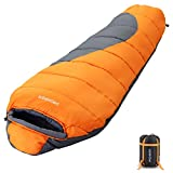 PROHIKER Mummy Sleeping Bag Lightweight for Adults Cold Weather Waterproof 4 Season for Camping Hiking with Compression Sack Backpacking Sleeping Bag for Adults & Kids (Orange)