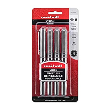 uni-ball Vision Rollerball Pens Micro Point  0.5mm  Black 4 Count