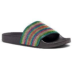 Rhinestone Glitter Rainbow Slide Slip On Mules Summer Shoe