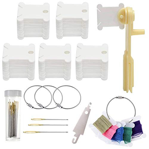 150 Pieces Plastic Floss Bobbins Thread Cards with Floss Winder,4 Pieces Floss Bobbin Rings,A Cross Stitch Threader and 30 Pieces Cross Stitch Needles for Craft DIY Embroidery Sewing Storage