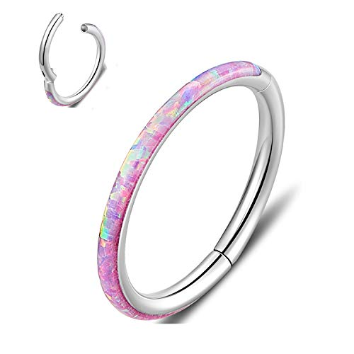 Hinged Nose Ring Hoop 316L Surgical Steel Septum Jewelry with Clear Gems or Opal, Aesthetic, Hypoallergenic, Non-Tarnish Piercing, Available in 18G 16G, 6mm - 8mm - 10mm, Silver - Gold - Rose Gold
