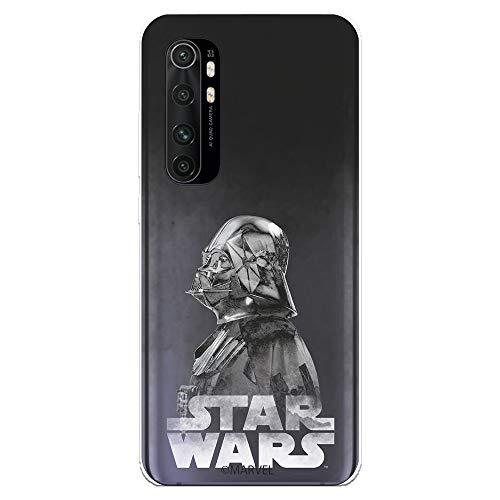 Funda para Xiaomi Mi Note 10 Lite Oficial de Star Wars Darth Vader Fondo Negro para Proteger tu móvil. Carcasa para Xiaomi de Silicona Flexible con Licencia Oficial de Star Wars.