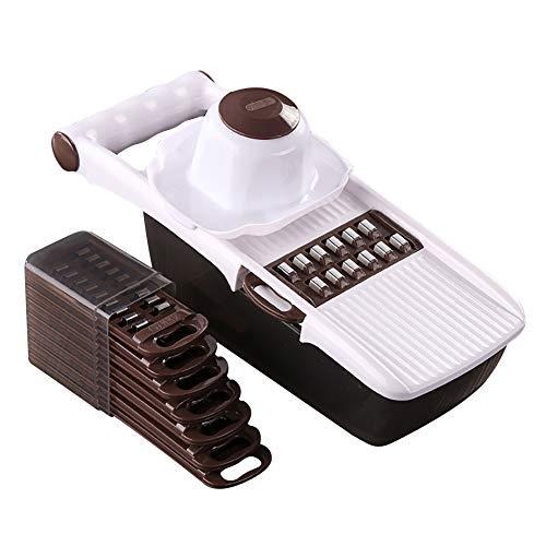 Papasbox Cortador ondulado de acero inoxidable 8 en 1 para patatas y verduras, cortador de patatas fritas cortador de patatas, cortador de ondas, herramienta de cocina para verduras