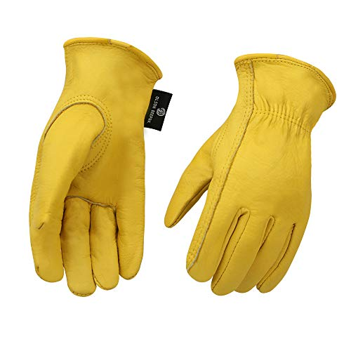 Heavy Duty Industrial Safety Gloves Hunting Gloves, Grain cowhide Leather Shooting Gloves for Driving/Riding/Gardening/Farm - Extremely Soft and Sweat-absorbent - Perfect Fit for Men & Women (Medium)