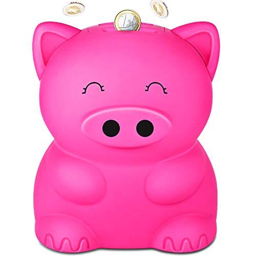 LarmTek Hucha para niños, Banco de Monedas de Cerdo de Dibujos Animados para niños, Adultos, Hucha electrónica Grande, Juguetes Divertidos, Regalo Creativo y útil, Cerdo Rosa