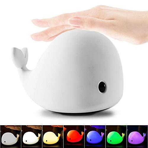 VPlus Kinder Nette Dolphin 6-Colored Soft Silikon USB Wiederaufladbare LED-Licht Baby Wal Dolphin Multicolor Pat Lampe Schlafzimmer Sicherheit Touch