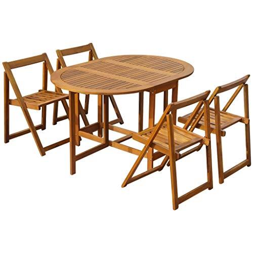 CFG Mesa de comedor plegable de jardín y sillas, Muebles de jardín Sets de 5 piezas al aire libre plegable Juego de comedor sillas soporte y mesa para jardín, patio, camping de madera maciza de acacia