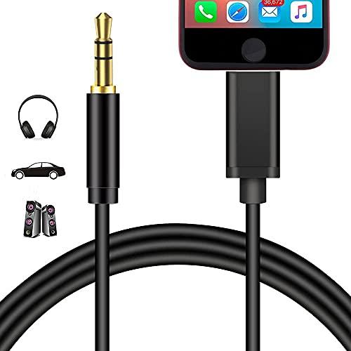 Cavo Aux per iPhone Cavo audio auto Jack da 3,5mm per iPhone per riprodurre musica Cavo Aux in auto per iPhone 7Plus/8/X/XS/XR/11 Autoradio/altoparlanti/cuffia Supporto Tutti iOS Sistema(Nero)