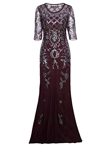 Vijiv Vintage 1920s Long Wedding Prom Dresses 2/3 Sleeve Sequin Party Evening Gown, Wine Red, X-Large (Modest Mother Of The Bride Dresses With Sleeves)